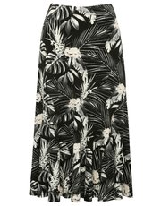 Tropical mid length jersey skirt
