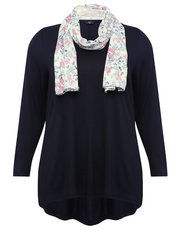 Plus tunic top with floral scarf