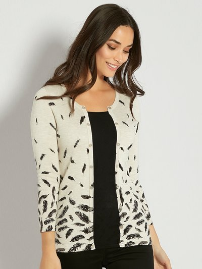 Two in one feather print cardigan top