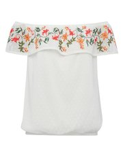 Floral embroidered frill layer bardot top