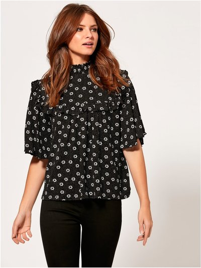 Petite ditsy floral print frill top