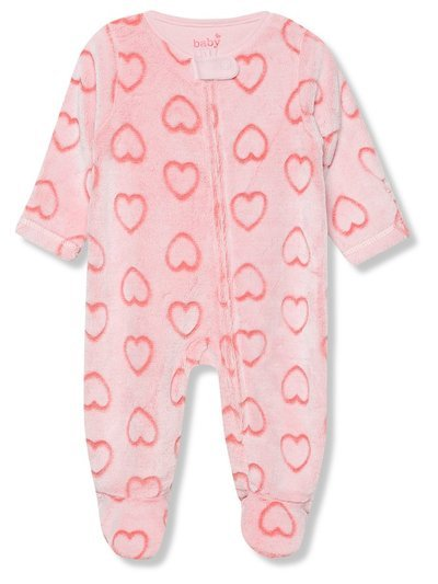 Heart fleece sleepsuit (Tiny baby - 18 mths)