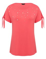 Pearl embellished tie sleeve t-shirt
