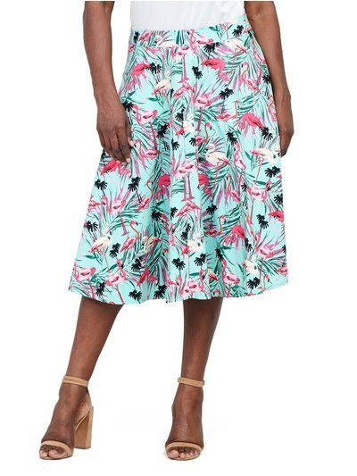 Izabel Curve flamingo print midi skirt