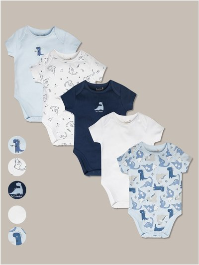 Dinosaur bodysuits five pack (tiny baby-18mths)