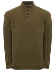 Chenille button neck jumper