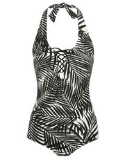 Palm print halterneck swimsuit