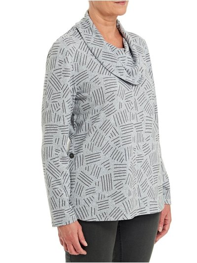 TIGI grey cowl neck button detail top