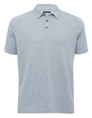 Floral print collar textured polo shirt