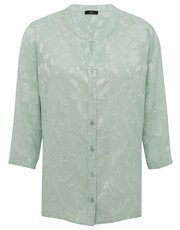 Floral jacquard notch neck shirt