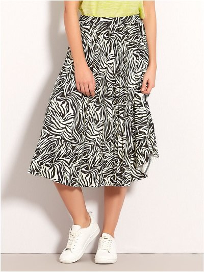 Petite zebra print pleated midi skirt