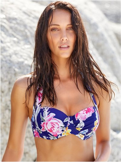 Purple floral underwired bikini top