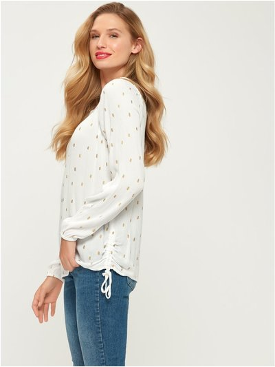 Square neck spot print top