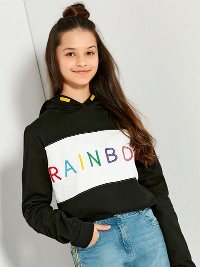 Teens' rainbow cropped hoody