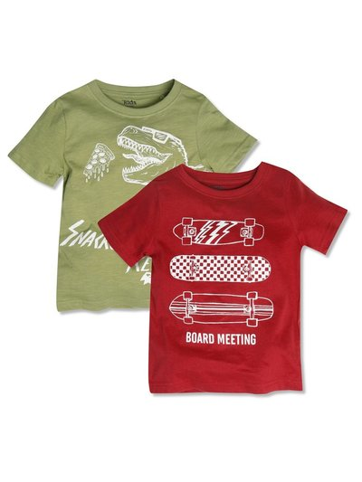 Dino and skateboard t-shirts two pack (3-12yrs)