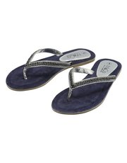 Navy diamante flip flops