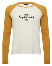 Teen girls supporting girls slogan raglan t-shirt