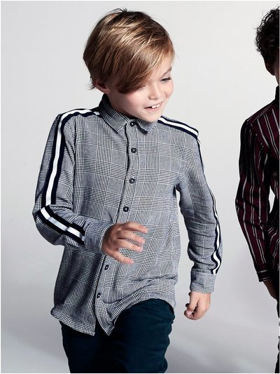 Side stripe check shirt (3-12yrs)