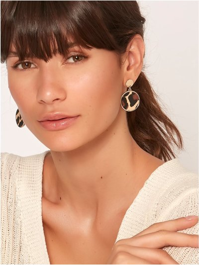 Muse animal print disc drop earrings