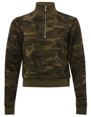 Teen zip neck camo sweatshirt