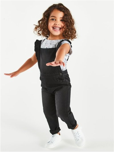Black denim dungarees (9mths-5yrs)