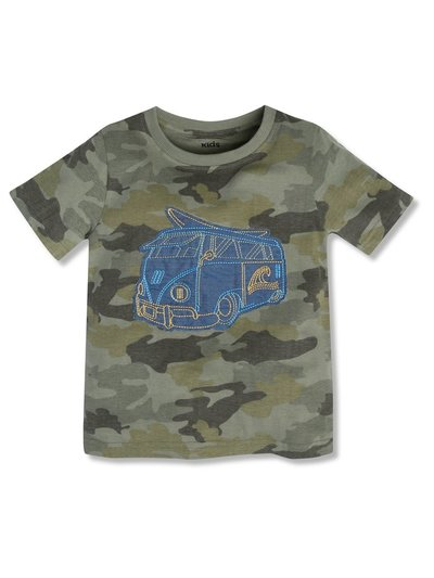 Campervan applique camo t-shirt (3-12yrs)