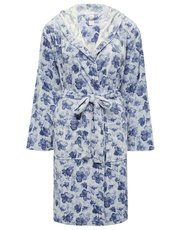 Floral print fleece robe