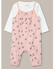 T-shirt and spotted dungaree set (newborn-18mths)