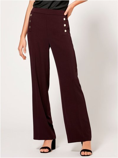 Button front wide leg trousers