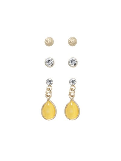 Stud and drop earrings three pack