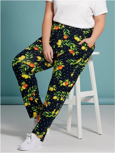 Plus fruit print trousers