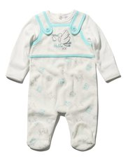 Mock dungaree velour sleepsuit