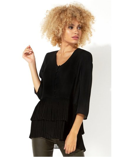 Roman Originals 3/4 sleeve pleated tunic top