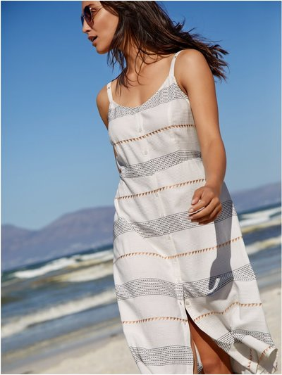 Embroidered stripe midi dress