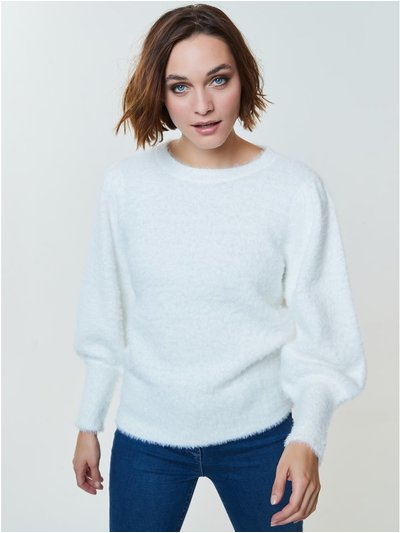 Fluffy blouson sleeve jumper