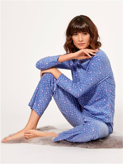 Heart print fleece pyjama set
