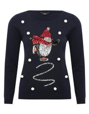 Petite sequin penguin Christmas jumper
