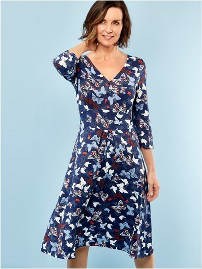 Spirit butterfly print fit and flare dress