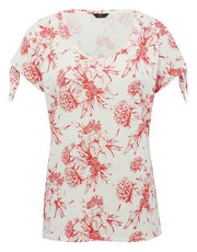 Floral tie sleeve t-shirt