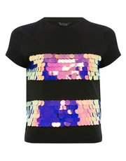 Teens' sequin stripe mesh t-shirt