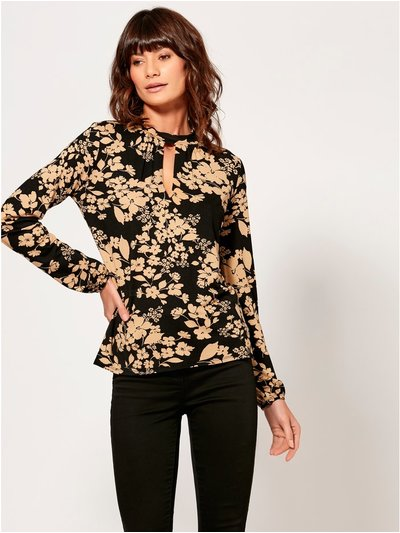 Floral cut out high neck top