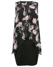 Plus floral print layer dress