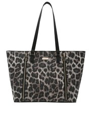 Leopard zip detail shopper bag