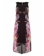 Roman Originals floral print split chiffon dress