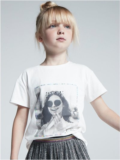 Diamante face print t-shirt (3-12yrs)
