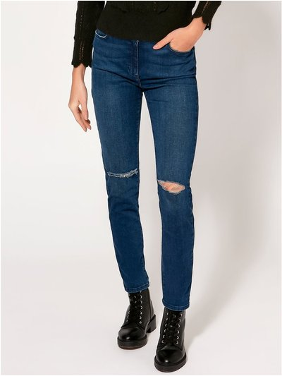 Slim leg ripped knee jeans