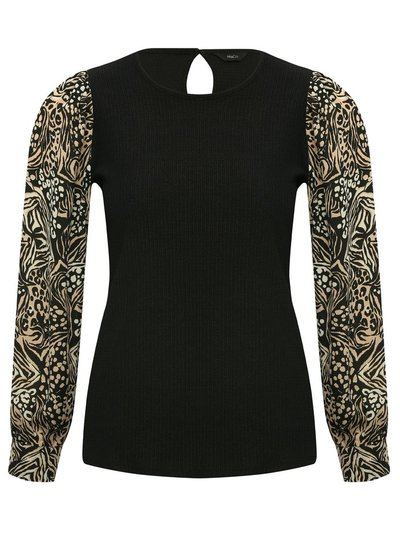 Petite animal print sleeve top