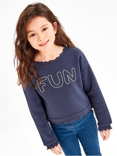 Diamante slogan sweatshirt (3-12yrs)