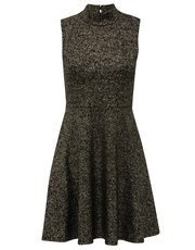 Foil high neck skater dress