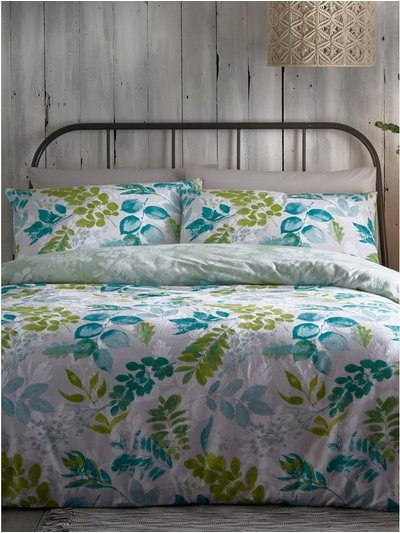 Brushed cotton leaf print duvet set